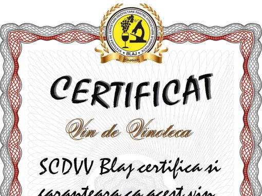 Certifiact SCDVV Blaj – Vin de vinoteca